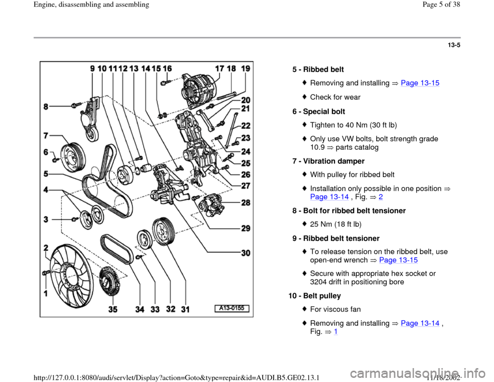 AUDI TT 2000 8N / 1.G AEB ATW Engines Engine Assembly Workshop Manual, Page 5