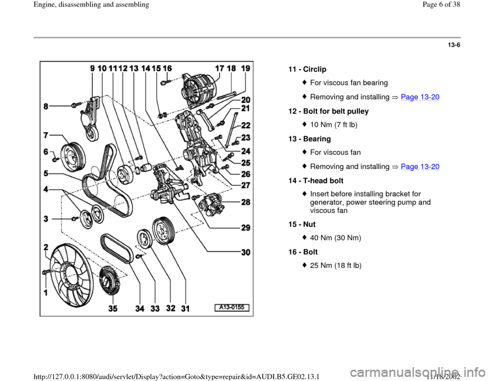 AUDI TT 2000 8N / 1.G AEB ATW Engines Engine Assembly Workshop Manual, Page 6