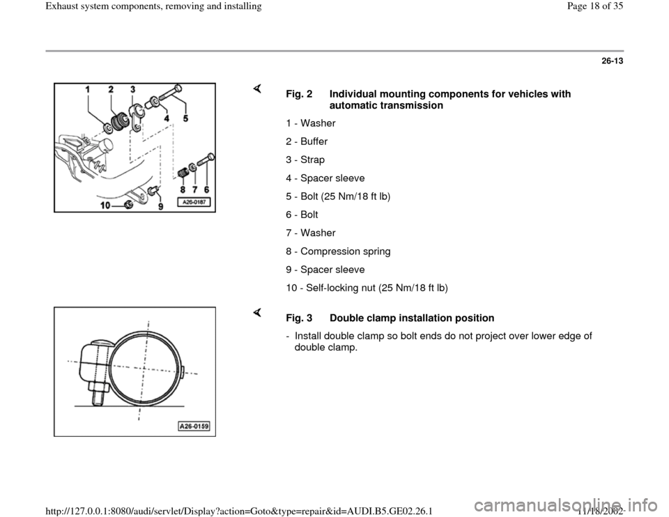 AUDI A6 1998 C5 / 2.G AEB ATW Engines Exhaust System Components Workshop Manual, Page 18