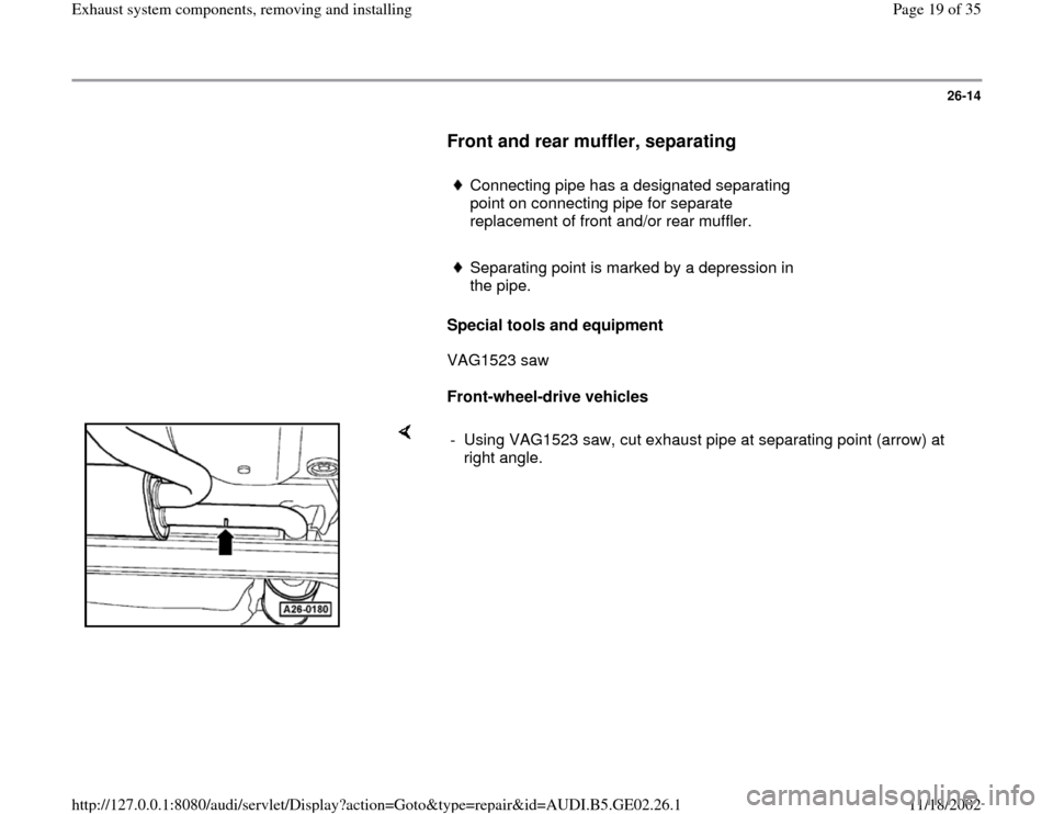 AUDI A6 1996 C5 / 2.G AEB ATW Engines Exhaust System Components Workshop Manual, Page 19