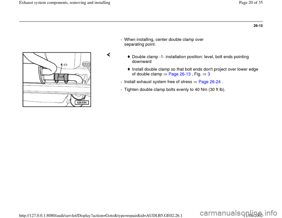 AUDI A6 1998 C5 / 2.G AEB ATW Engines Exhaust System Components Workshop Manual, Page 20