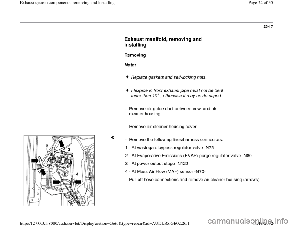 AUDI A3 1999 8L / 1.G AEB ATW Engines Exhaust System Components Workshop Manual, Page 22