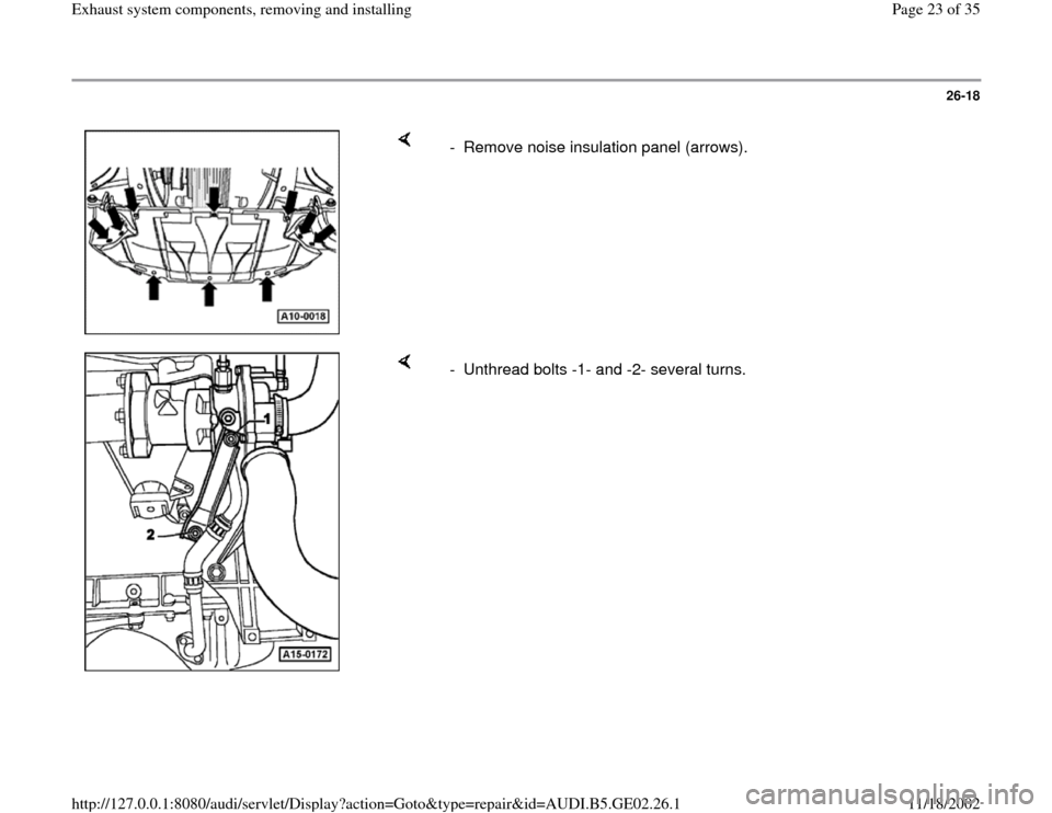 AUDI A6 1999 C5 / 2.G AEB ATW Engines Exhaust System Components Workshop Manual, Page 23