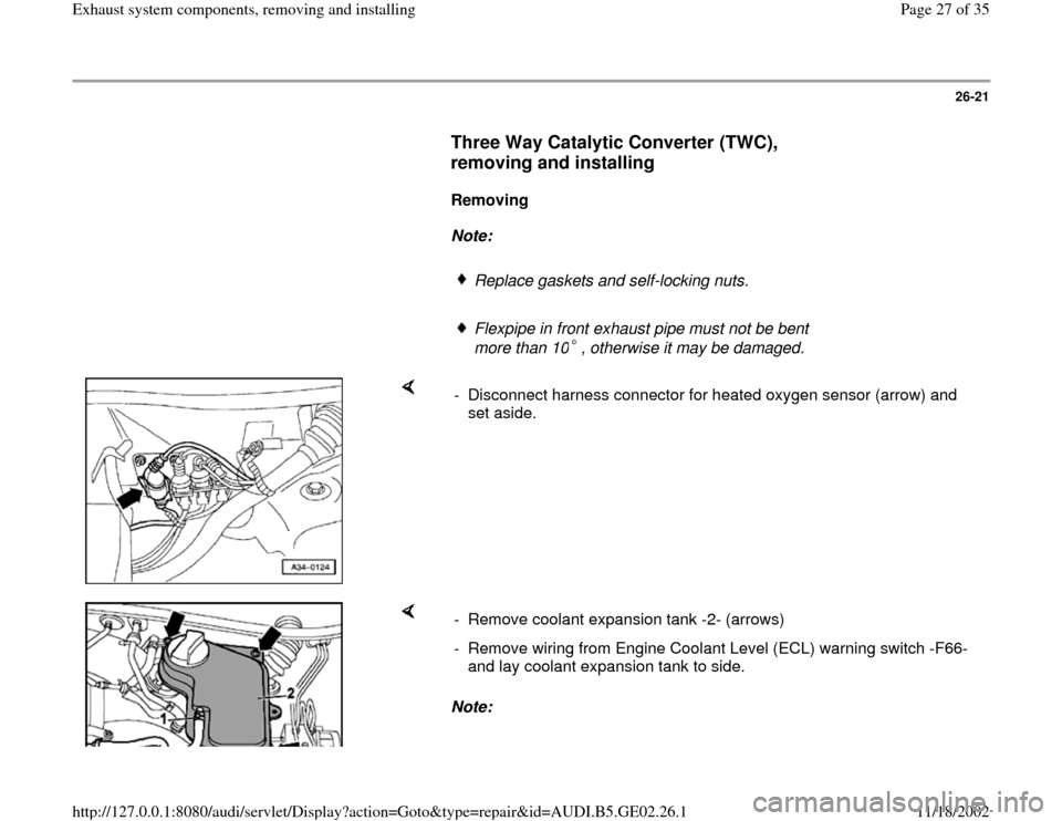 AUDI A3 1999 8L / 1.G AEB ATW Engines Exhaust System Components Workshop Manual, Page 27