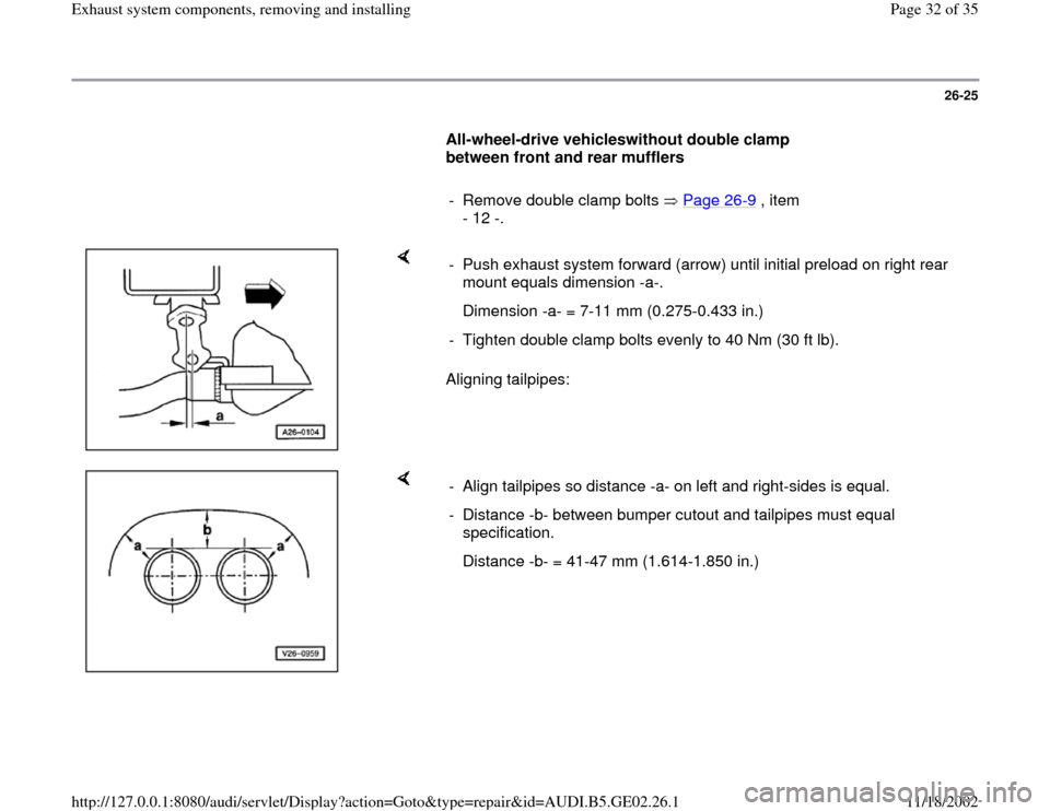 AUDI A6 1998 C5 / 2.G AEB ATW Engines Exhaust System Components Workshop Manual, Page 32