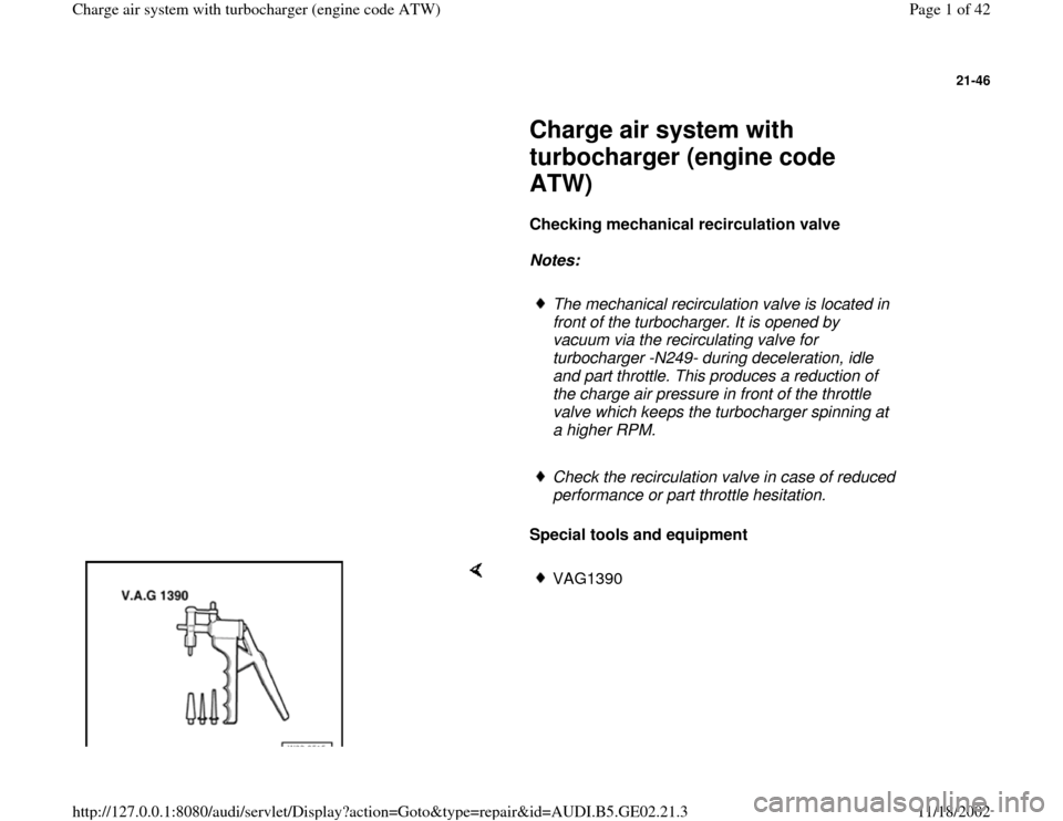 AUDI A4 1996 B5 / 1.G AEB ATW Engines Charge Air System With Turbocharger Workshop Manual, Page 1