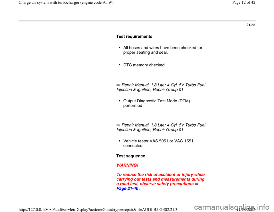 AUDI A4 1999 B5 / 1.G AEB ATW Engines Charge Air System With Turbocharger Workshop Manual, Page 12