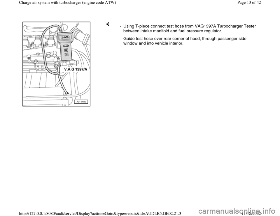 AUDI A4 1999 B5 / 1.G AEB ATW Engines Charge Air System With Turbocharger Workshop Manual, Page 13