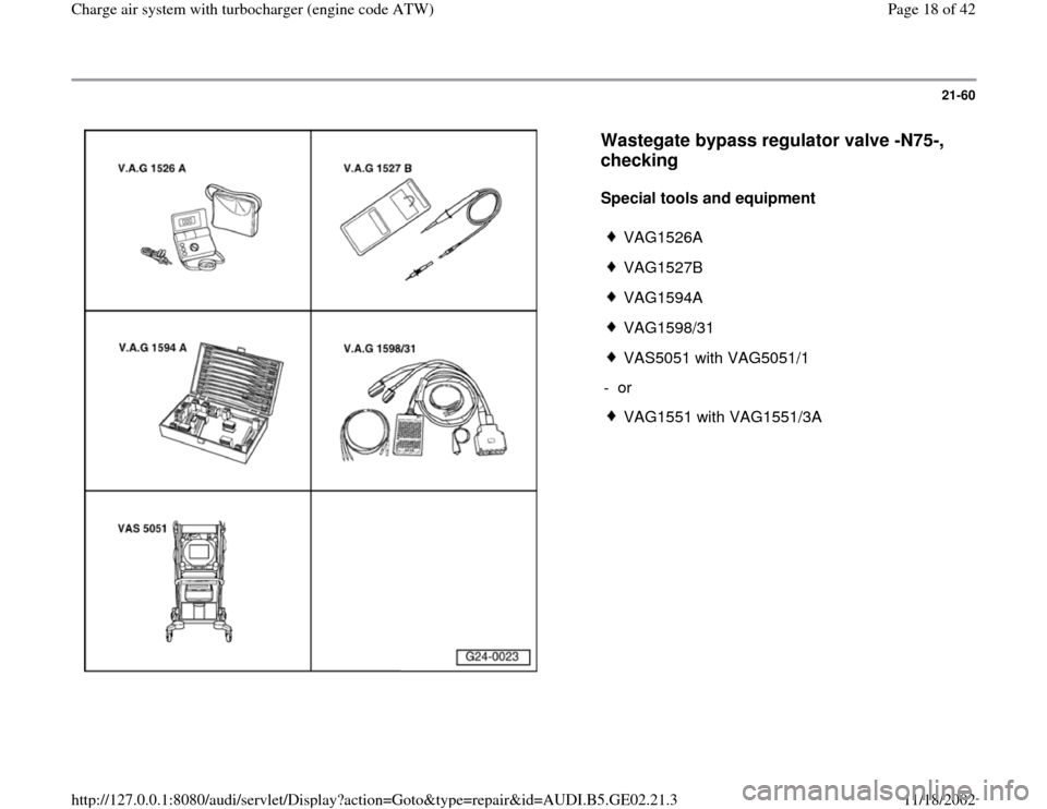 AUDI A4 1999 B5 / 1.G AEB ATW Engines Charge Air System With Turbocharger Workshop Manual, Page 18