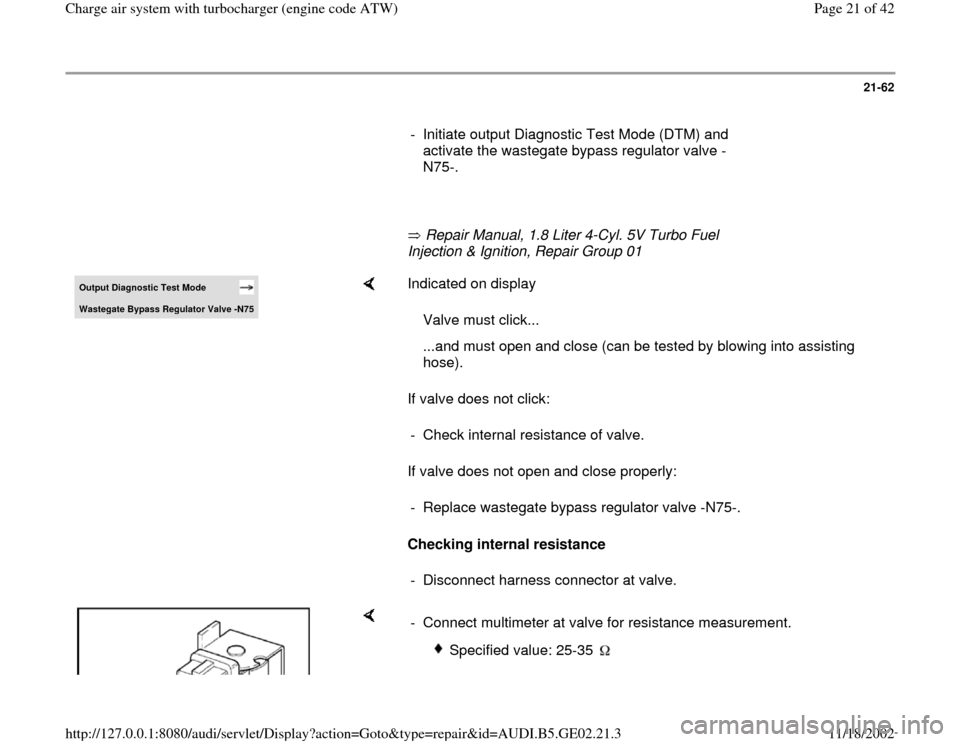 AUDI A6 1999 C5 / 2.G AEB ATW Engines Charge Air System With Turbocharger Workshop Manual, Page 21