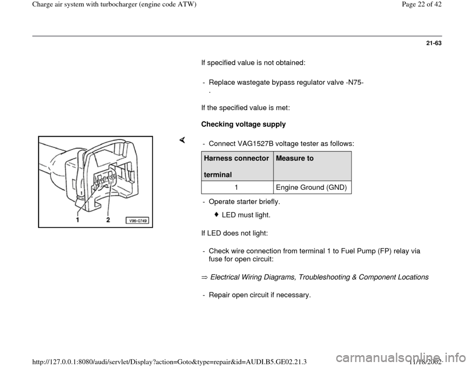 AUDI A6 1999 C5 / 2.G AEB ATW Engines Charge Air System With Turbocharger Workshop Manual, Page 22