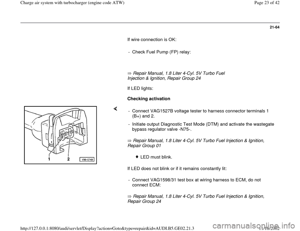 AUDI A6 1999 C5 / 2.G AEB ATW Engines Charge Air System With Turbocharger Workshop Manual, Page 23