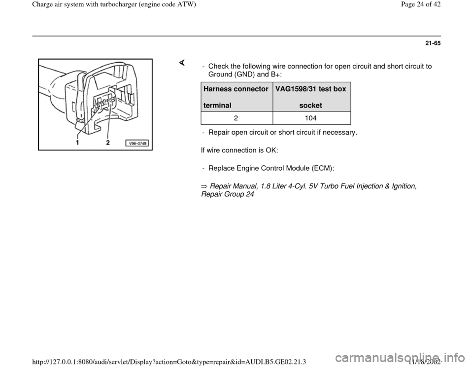 AUDI A6 1999 C5 / 2.G AEB ATW Engines Charge Air System With Turbocharger Workshop Manual, Page 24