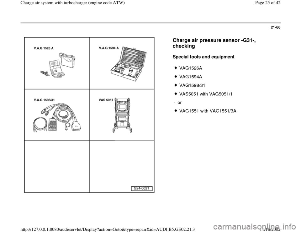 AUDI A6 1999 C5 / 2.G AEB ATW Engines Charge Air System With Turbocharger Workshop Manual, Page 25