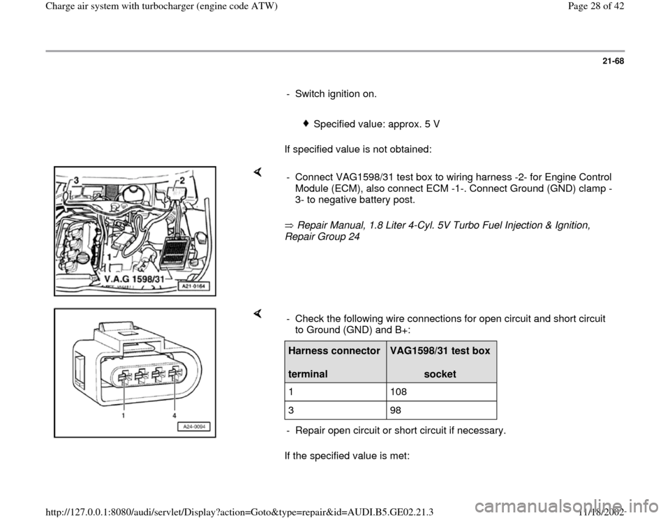 AUDI A6 1999 C5 / 2.G AEB ATW Engines Charge Air System With Turbocharger Workshop Manual, Page 28