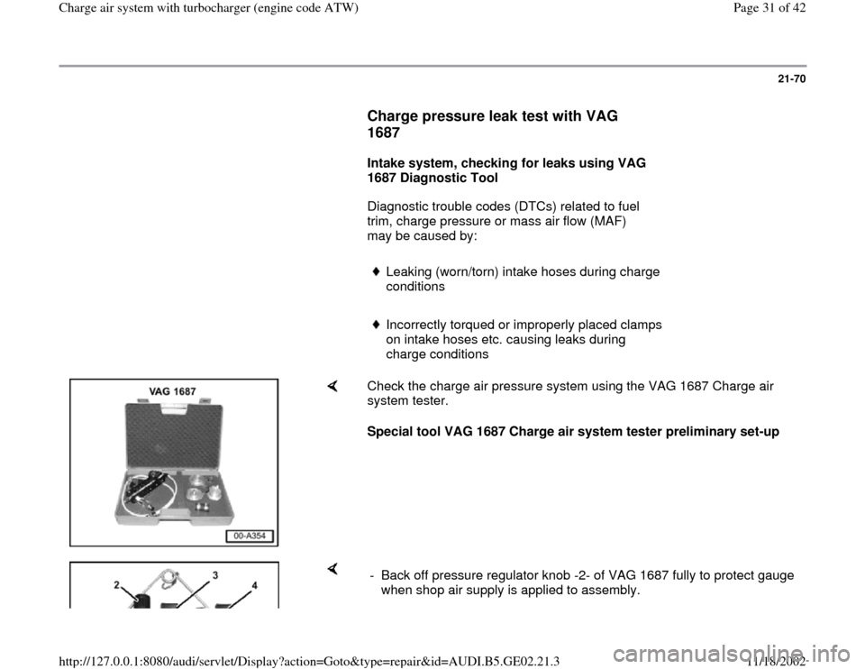 AUDI A4 1998 B5 / 1.G AEB ATW Engines Charge Air System With Turbocharger Workshop Manual, Page 31