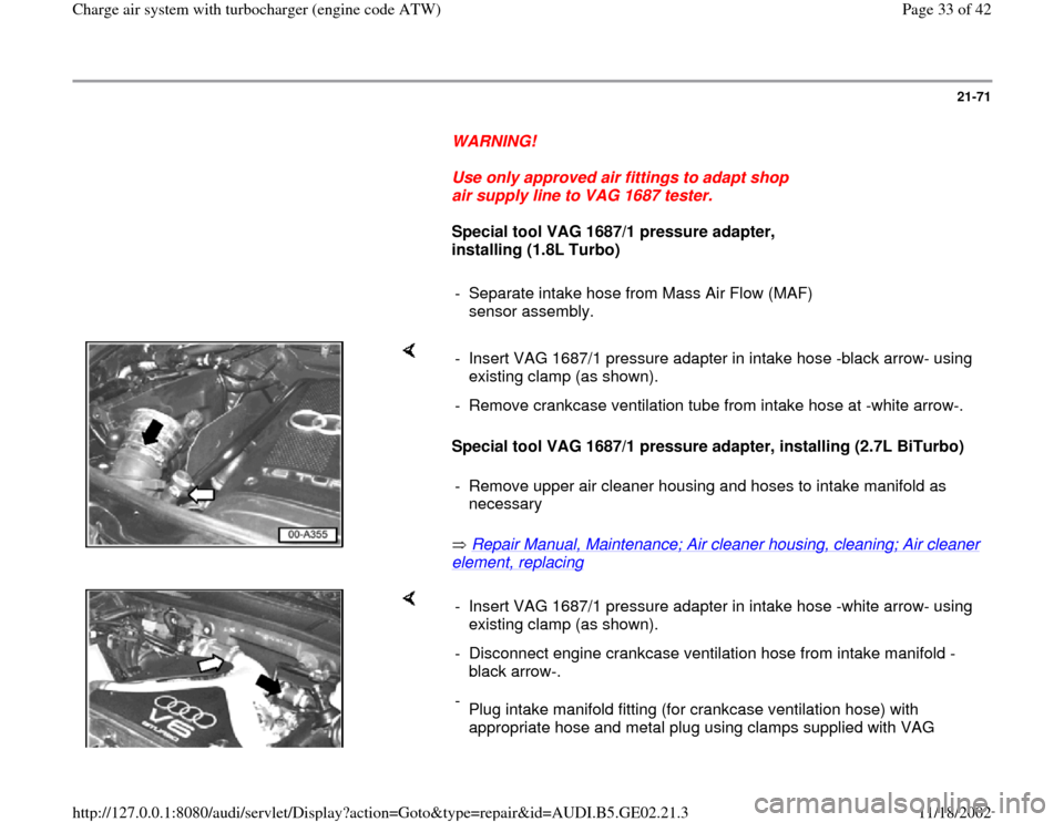 AUDI A3 1999 8L / 1.G AEB ATW Engines Charge Air System With Turbocharger Workshop Manual, Page 33