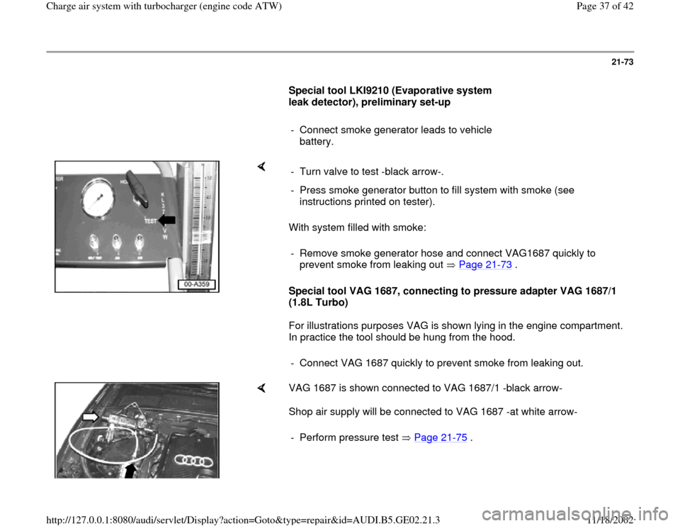 AUDI A4 1998 B5 / 1.G AEB ATW Engines Charge Air System With Turbocharger Workshop Manual, Page 37