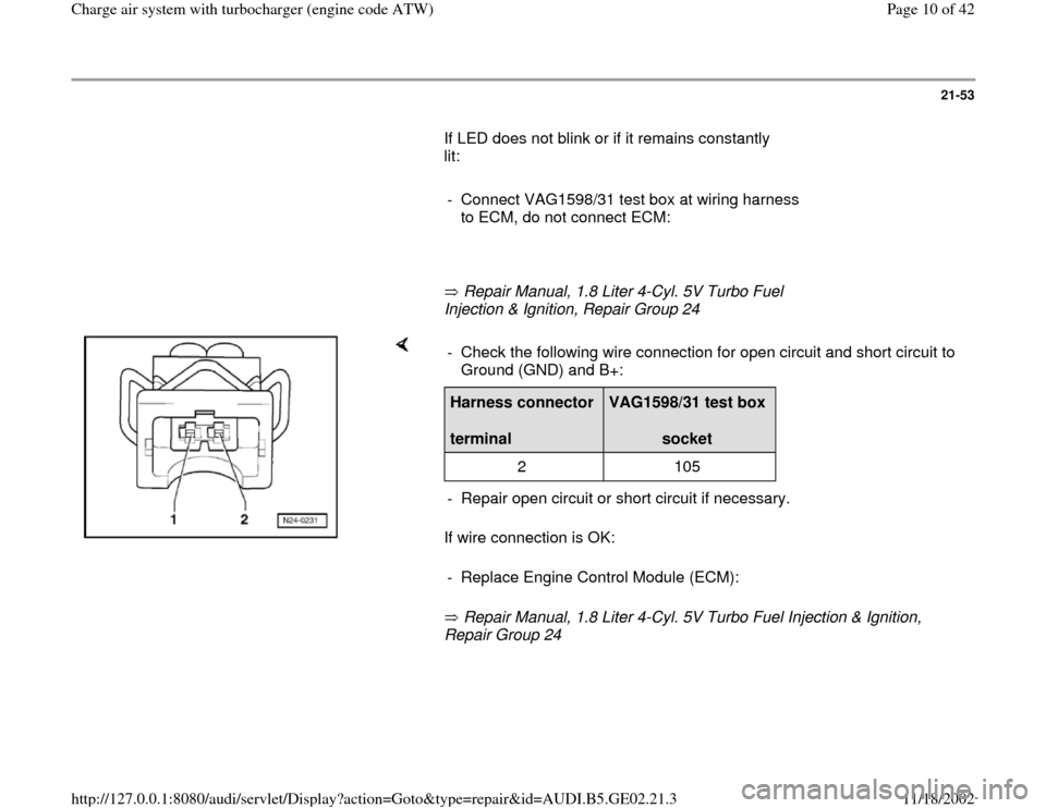AUDI A4 1996 B5 / 1.G AEB ATW Engines Charge Air System With Turbocharger Workshop Manual, Page 10