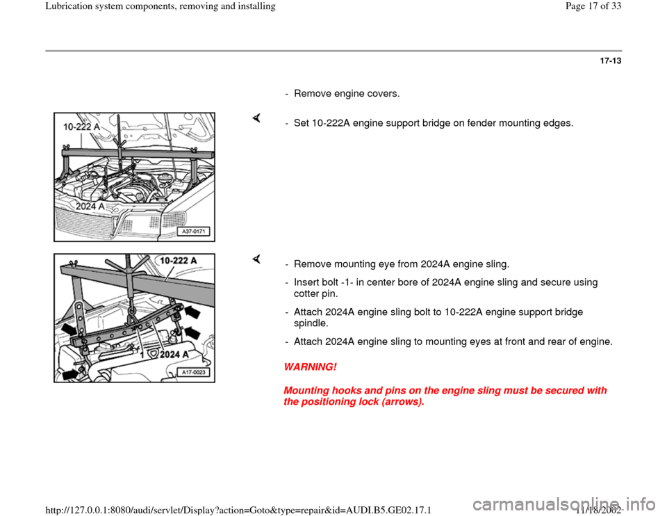 AUDI A3 1996 8L / 1.G AEB ATW Engines Lubrication System Components Workshop Manual, Page 17