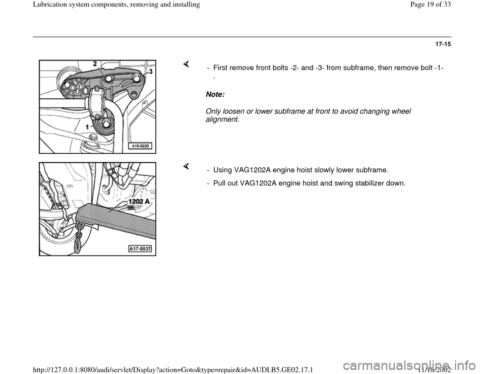 AUDI A3 1996 8L / 1.G AEB ATW Engines Lubrication System Components Workshop Manual, Page 19