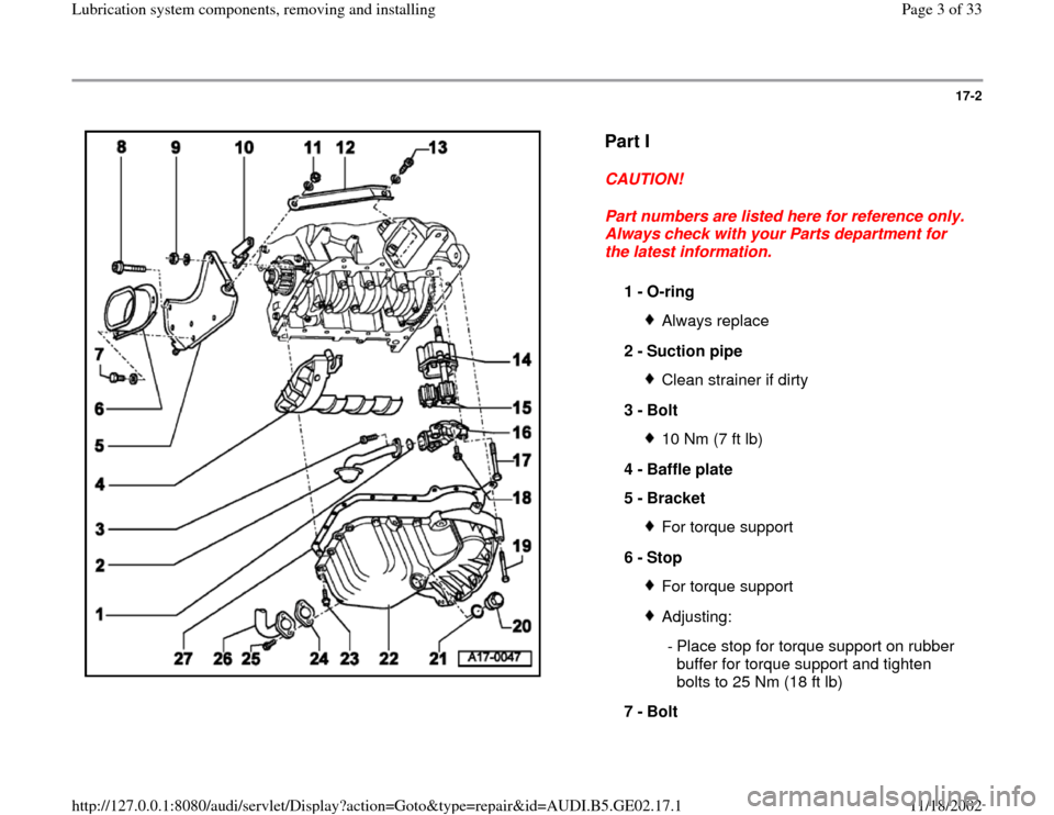 AUDI A4 1999 B5 / 1.G AEB ATW Engines Lubrication System Components Workshop Manual, Page 3