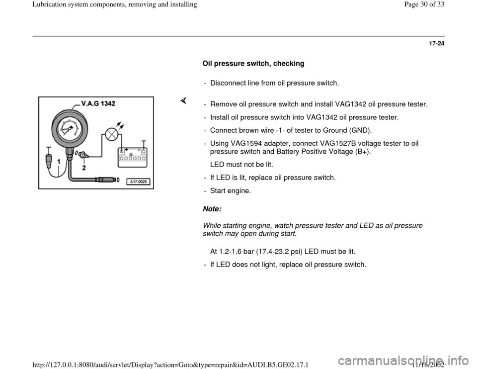 AUDI A4 2000 B5 / 1.G AEB ATW Engines Lubrication System Components Workshop Manual, Page 30