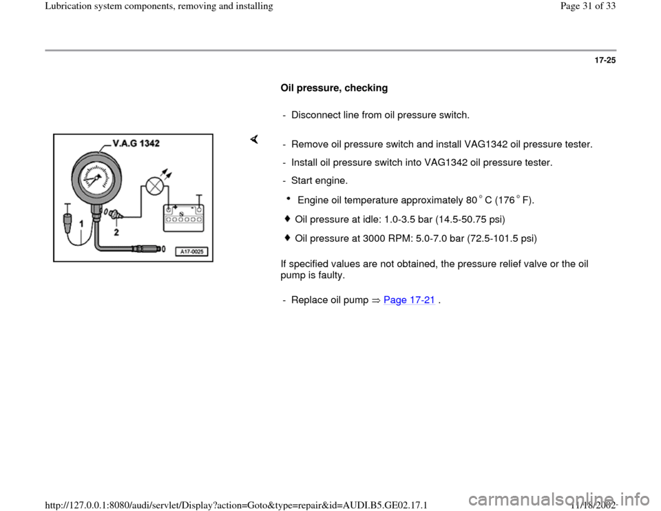 AUDI A4 1996 B5 / 1.G AEB ATW Engines Lubrication System Components Workshop Manual, Page 31