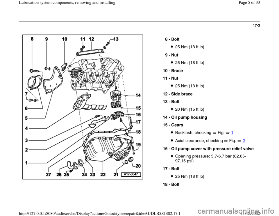 AUDI A4 1999 B5 / 1.G AEB ATW Engines Lubrication System Components Workshop Manual, Page 5