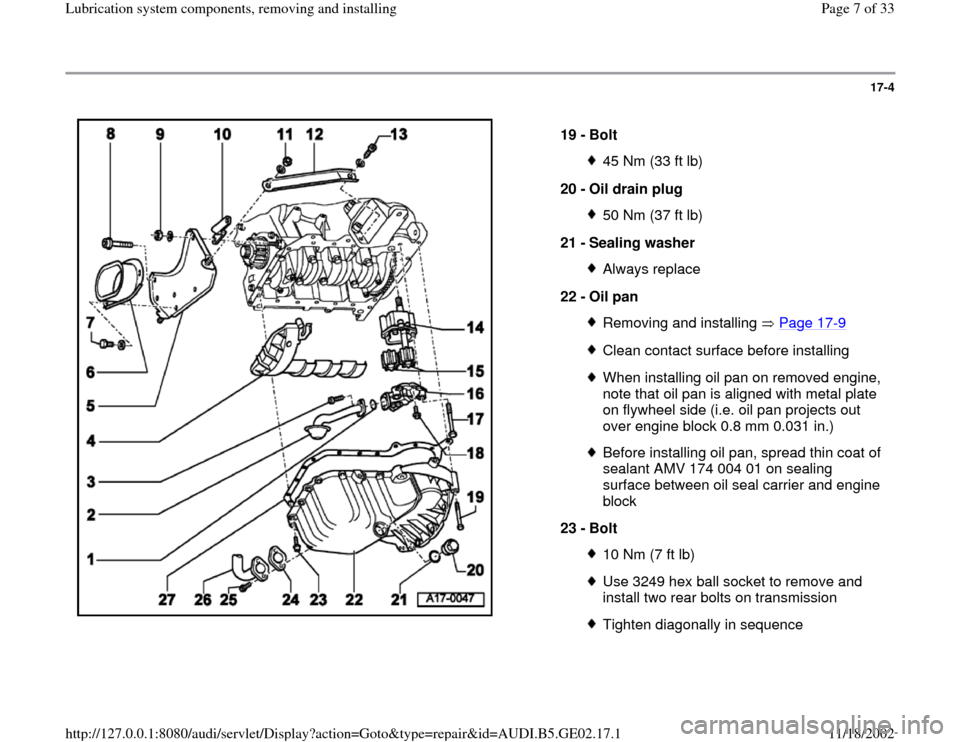 AUDI A4 1999 B5 / 1.G AEB ATW Engines Lubrication System Components Workshop Manual, Page 7