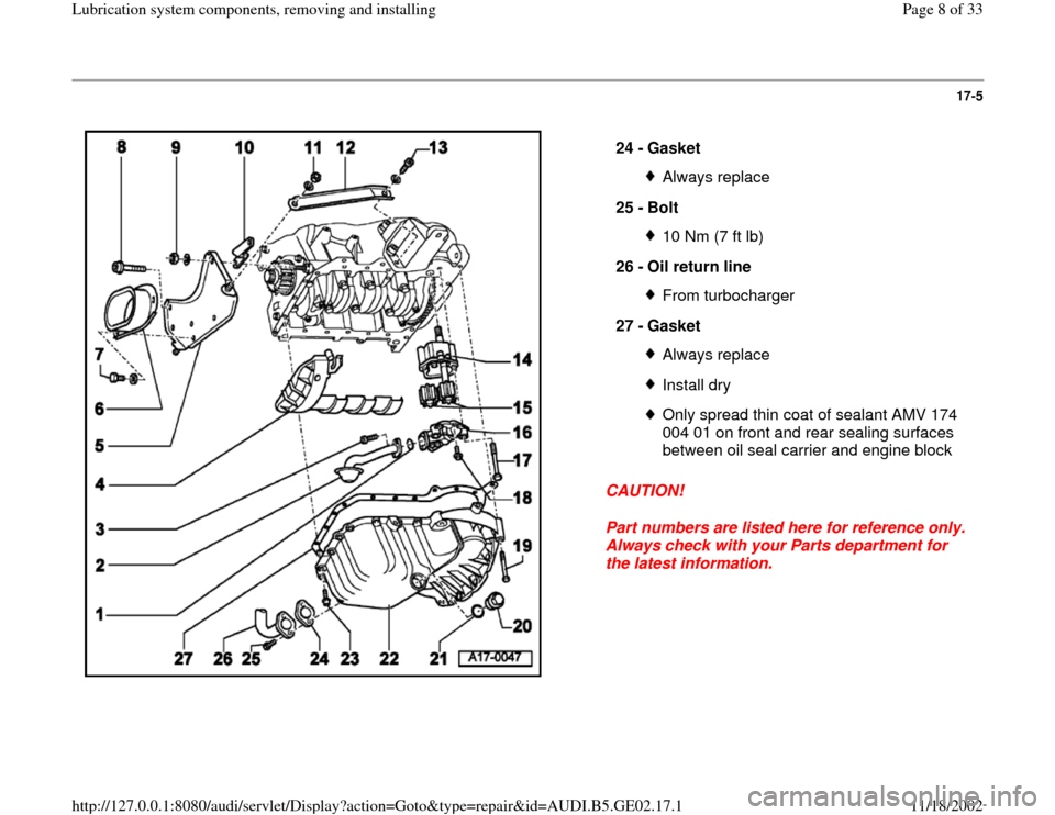 AUDI A4 1999 B5 / 1.G AEB ATW Engines Lubrication System Components Workshop Manual, Page 8
