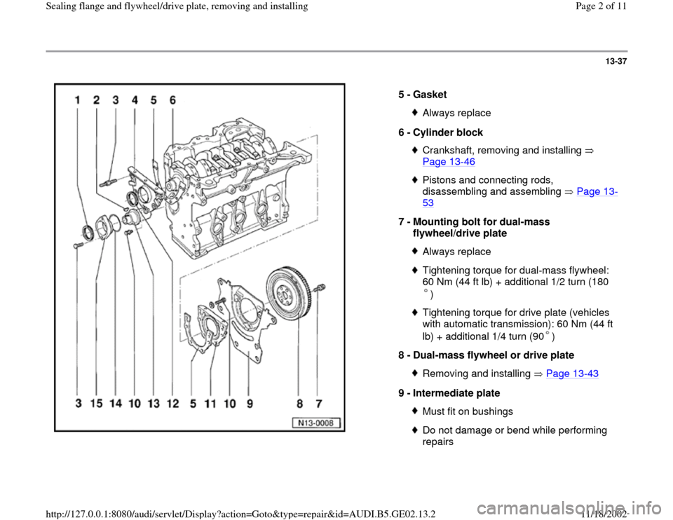 AUDI A3 1995 8L / 1.G AEB ATW Engines Sealing Flanges And Flywheel Driveplate Workshop Manual 13-37      5 -  Gasket  Always replace 6 -  Cylinder block Crankshaft, removing and installing    Page 13 -46   Pistons and connecting rods,  disassembling and assembling   Page 13 - 53   7 -  Mountin