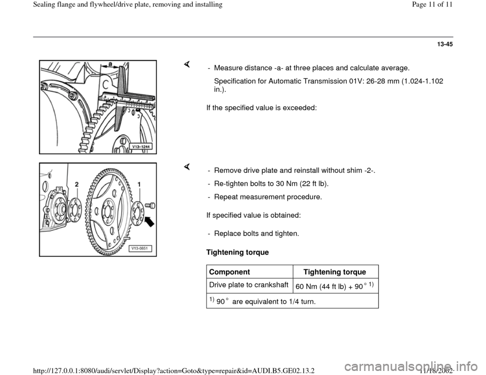 AUDI A4 1995 B5 / 1.G AEB ATW Engines Sealing Flanges And Flywheel Driveplate Workshop Manual, Page 11