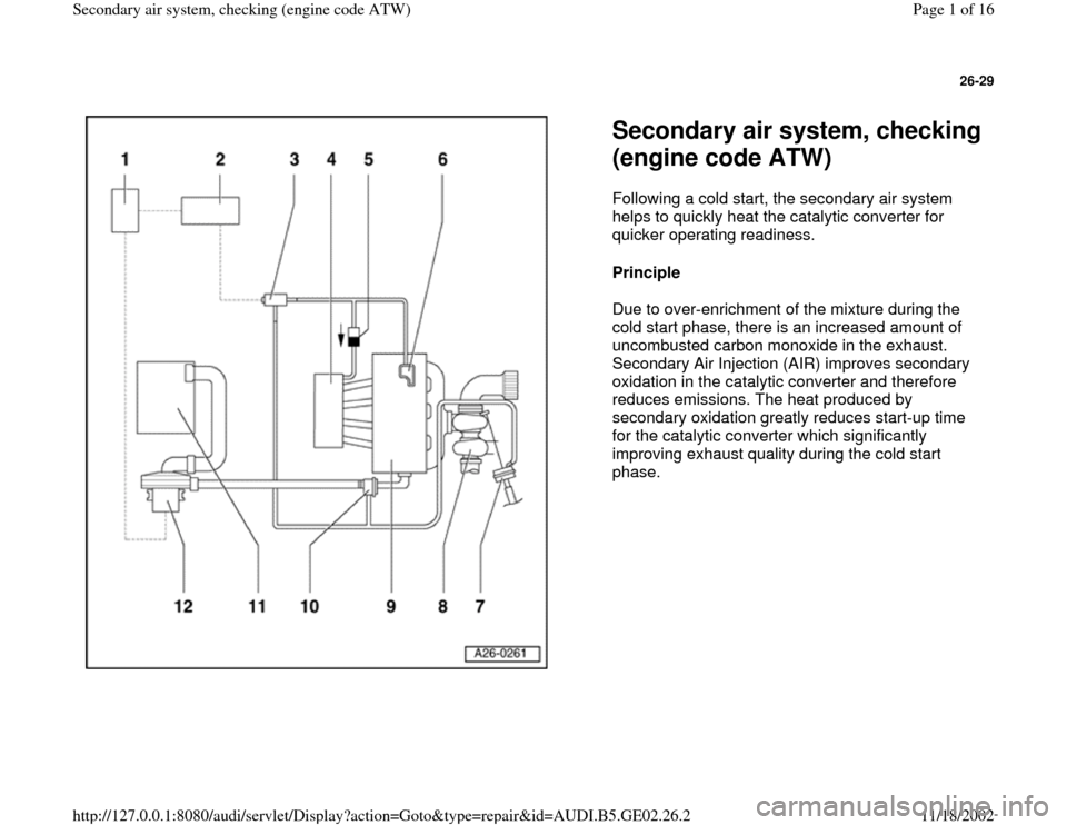 AUDI A4 1998 B5 / 1.G AEB ATW Engines Secondary Air System Workshop Manual, Page 1