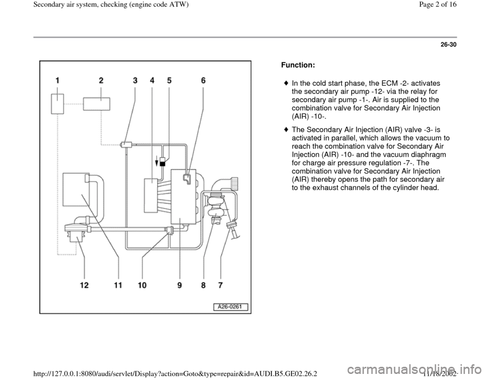 AUDI A4 1998 B5 / 1.G AEB ATW Engines Secondary Air System Workshop Manual, Page 2
