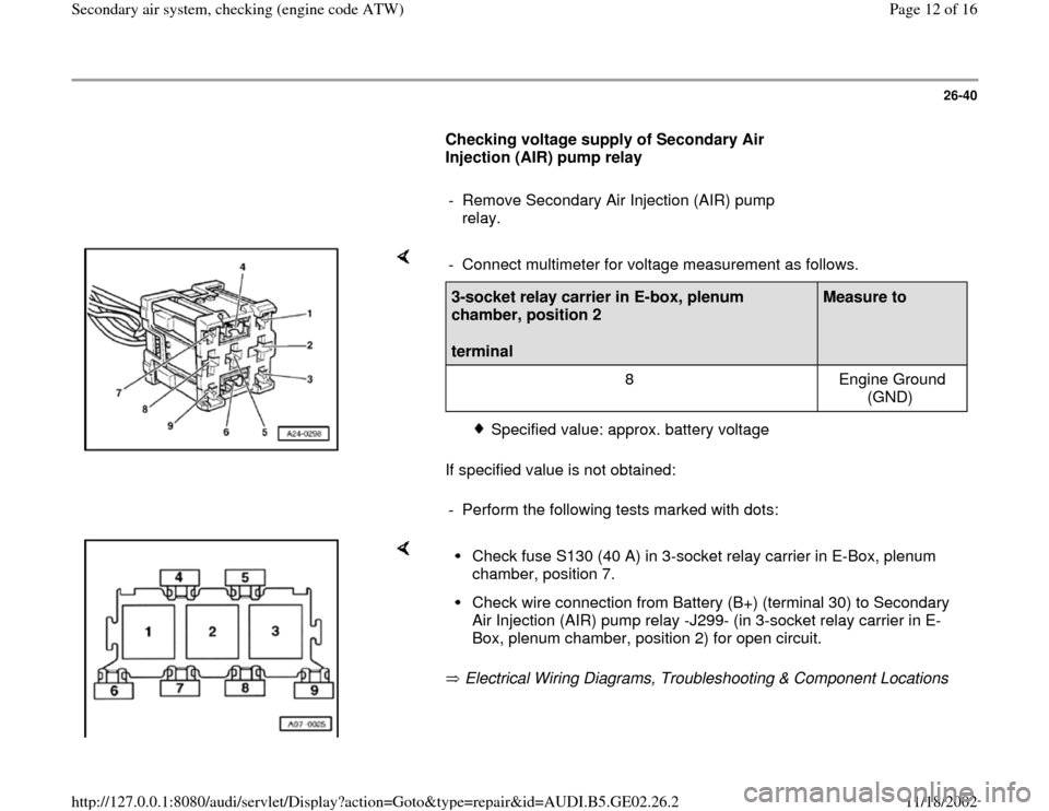 AUDI A4 2000 B5 / 1.G AEB ATW Engines Secondary Air System Workshop Manual, Page 12