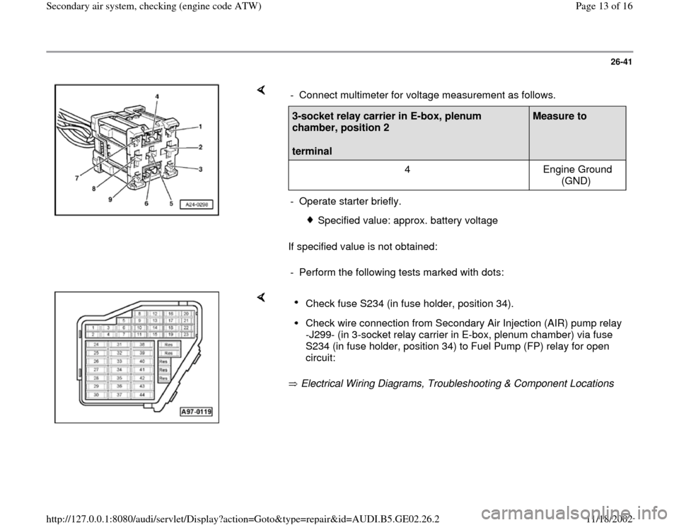 AUDI A4 2000 B5 / 1.G AEB ATW Engines Secondary Air System Workshop Manual, Page 13