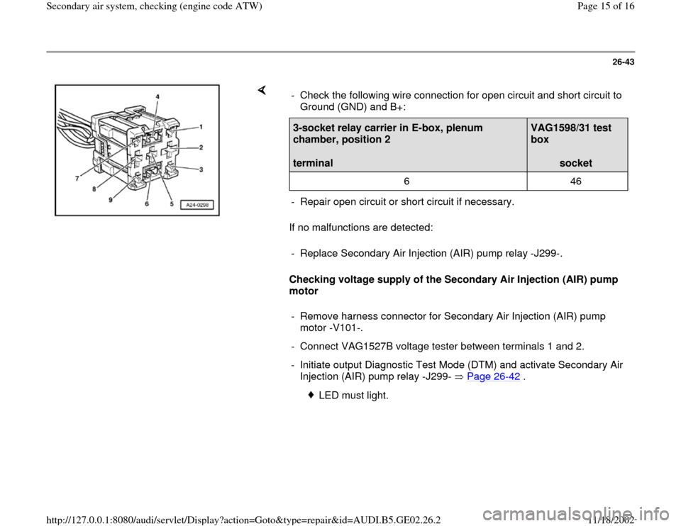 AUDI A4 2000 B5 / 1.G AEB ATW Engines Secondary Air System Workshop Manual, Page 15