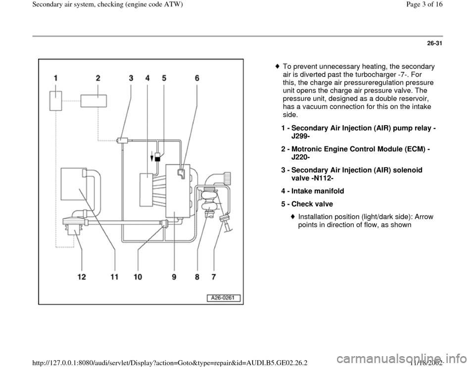 AUDI TT 1999 8N / 1.G AEB ATW Engines Secondary Air System Workshop Manual, Page 3