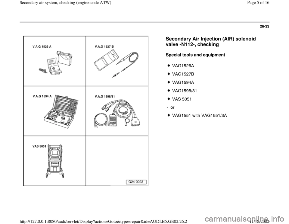 AUDI A4 1998 B5 / 1.G AEB ATW Engines Secondary Air System Workshop Manual, Page 5
