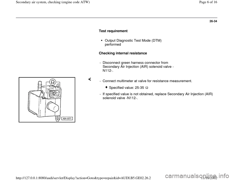 AUDI TT 1999 8N / 1.G AEB ATW Engines Secondary Air System Workshop Manual, Page 6