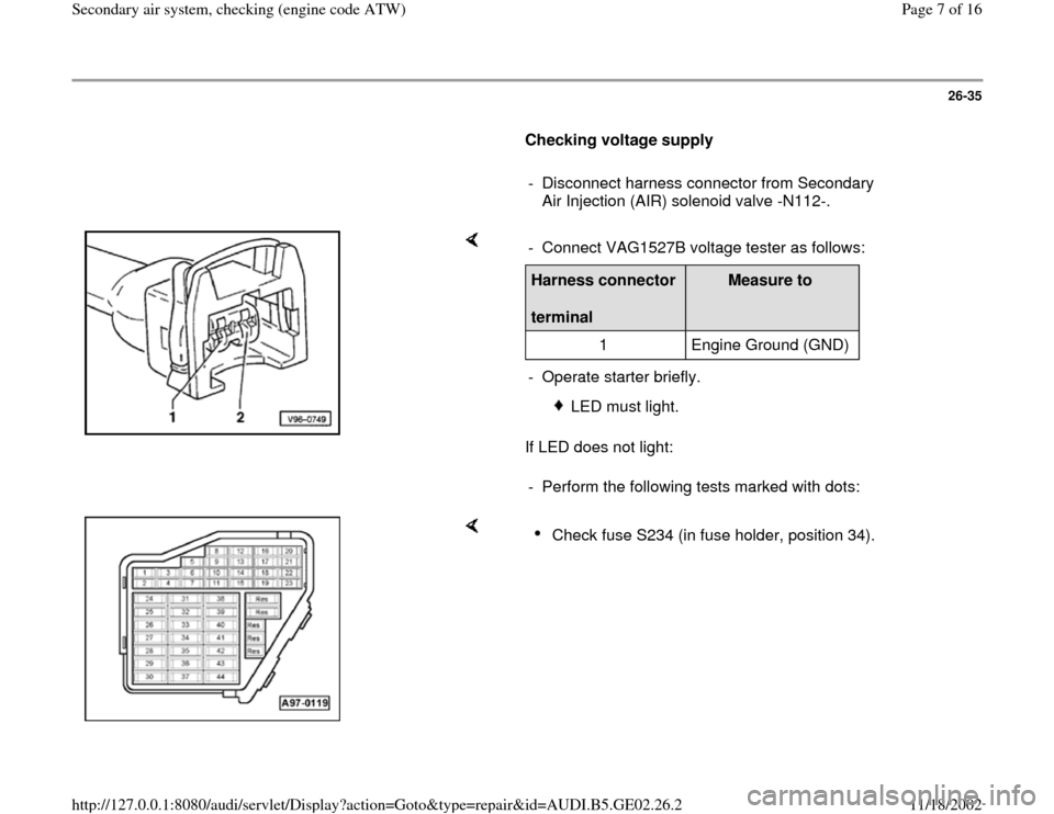 AUDI A4 1998 B5 / 1.G AEB ATW Engines Secondary Air System Workshop Manual, Page 7