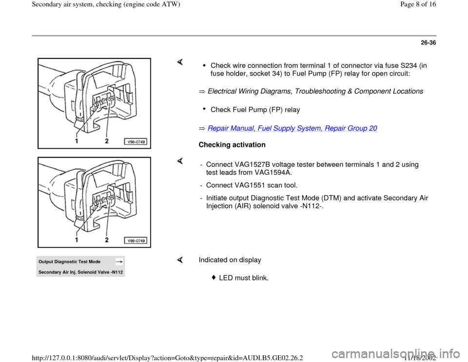 AUDI A4 1998 B5 / 1.G AEB ATW Engines Secondary Air System Workshop Manual, Page 8