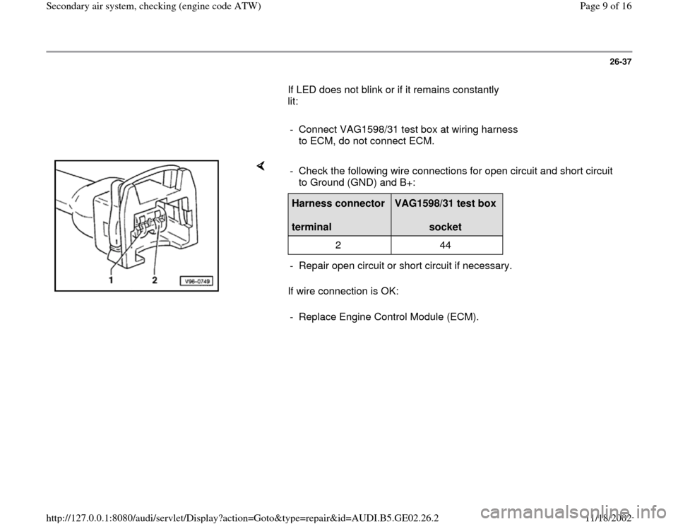 AUDI A4 1998 B5 / 1.G AEB ATW Engines Secondary Air System Workshop Manual, Page 9