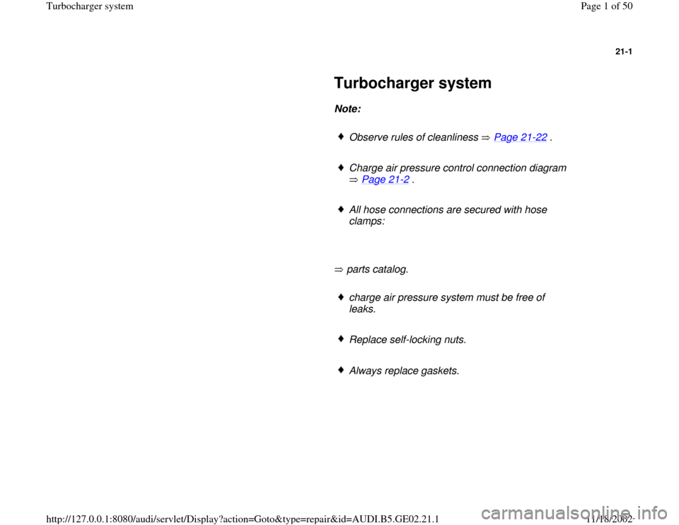 AUDI A4 1997 B5 / 1.G AEB ATW Engines Turbocharger System Workshop Manual, Page 1