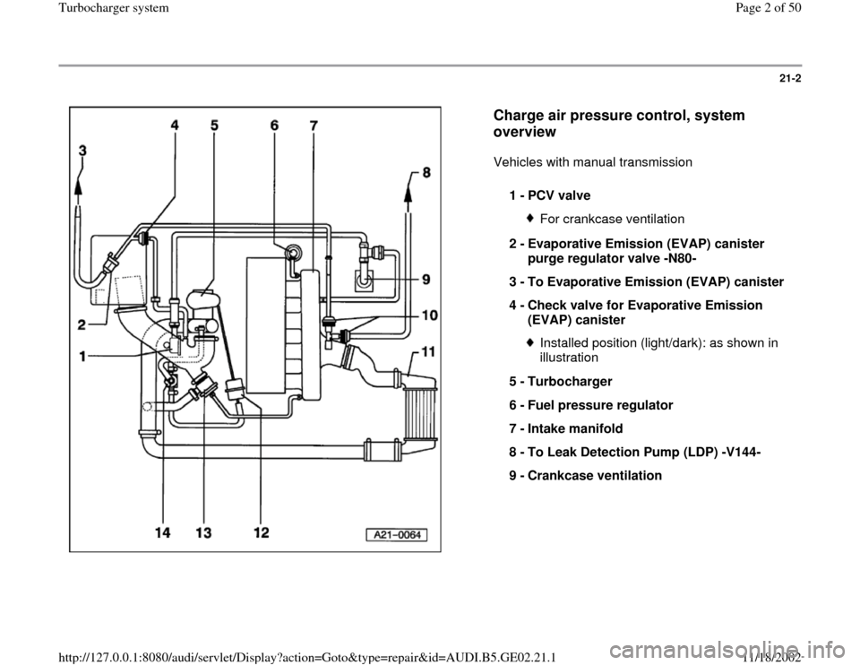 AUDI A4 1997 B5 / 1.G AEB ATW Engines Turbocharger System Workshop Manual, Page 2