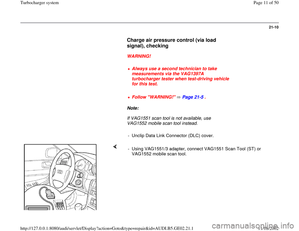 AUDI A6 1999 C5 / 2.G AEB ATW Engines Turbocharger System Workshop Manual, Page 11