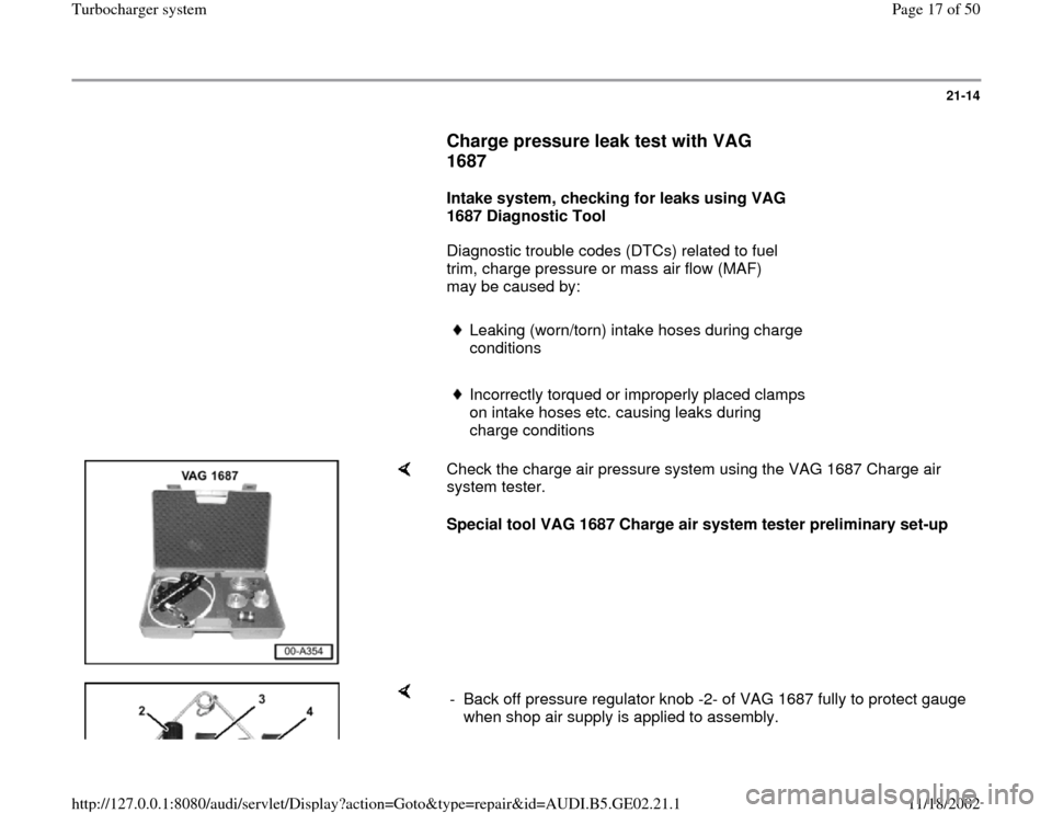 AUDI A6 1999 C5 / 2.G AEB ATW Engines Turbocharger System Workshop Manual, Page 17