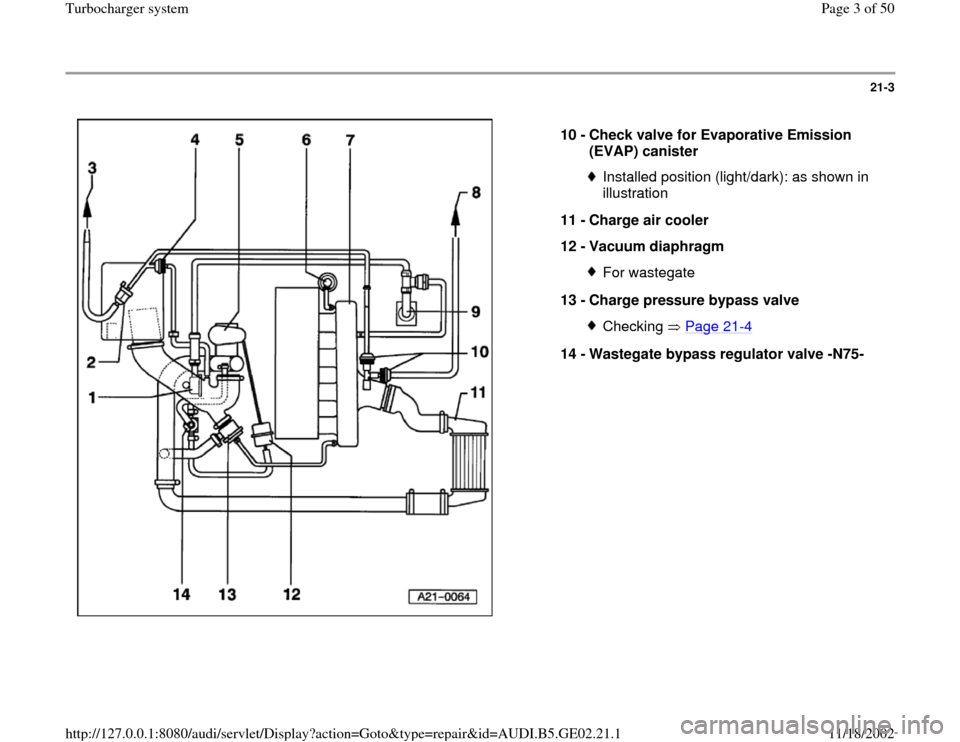 AUDI A4 1997 B5 / 1.G AEB ATW Engines Turbocharger System Workshop Manual, Page 3
