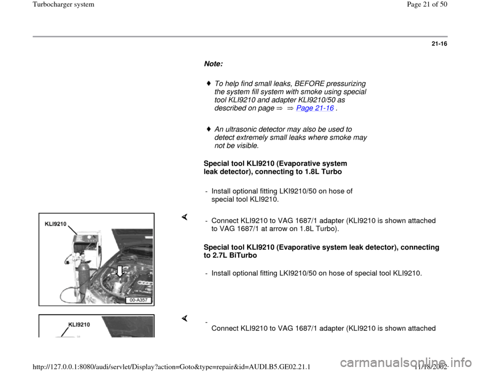AUDI A6 1998 C5 / 2.G AEB ATW Engines Turbocharger System Workshop Manual, Page 21